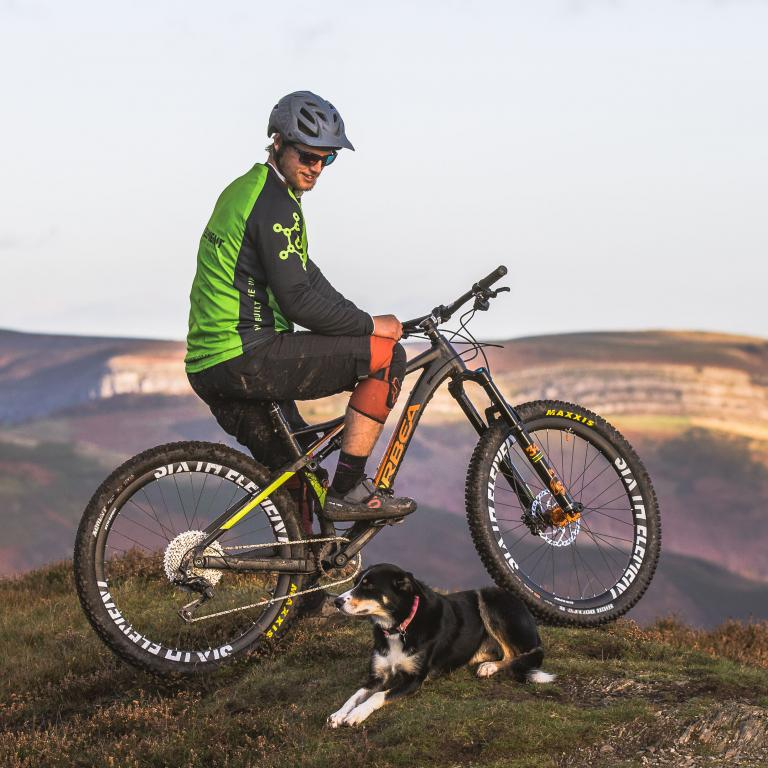 Mountain bike wheels and dog