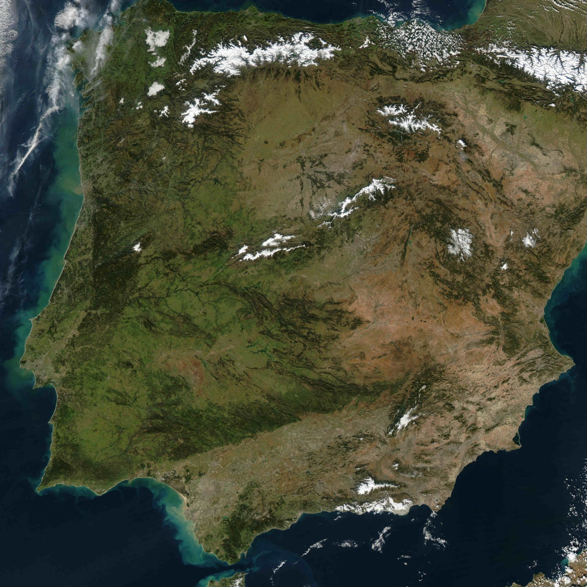 Mainland Spain Mountains Relief Map