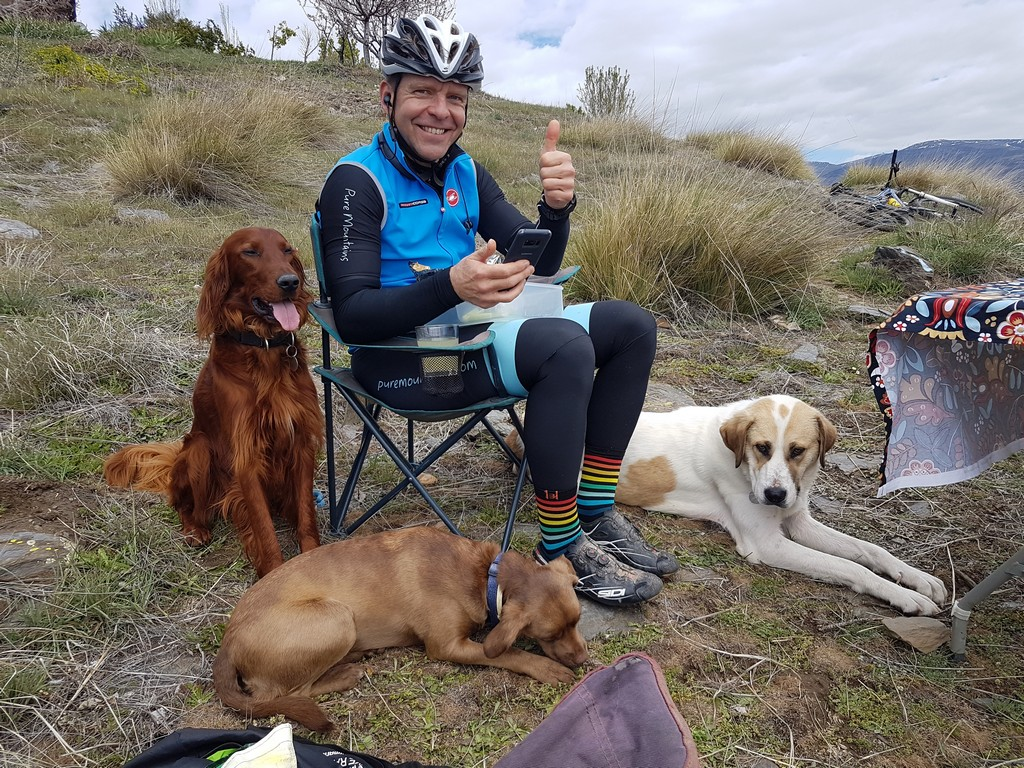 A mountain biker's lunch break
