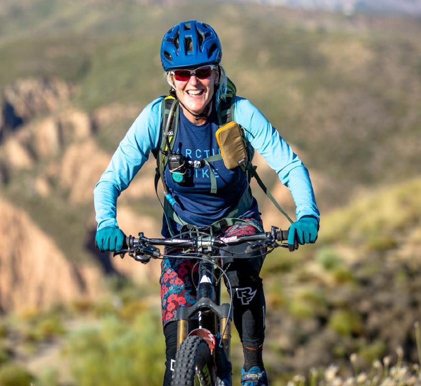 Jenny riding the Yátor Ridge Ride