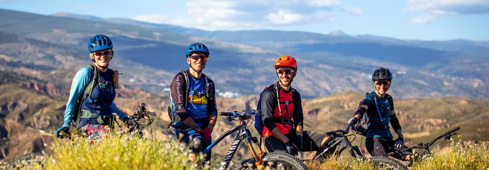 Happy mountain bikers